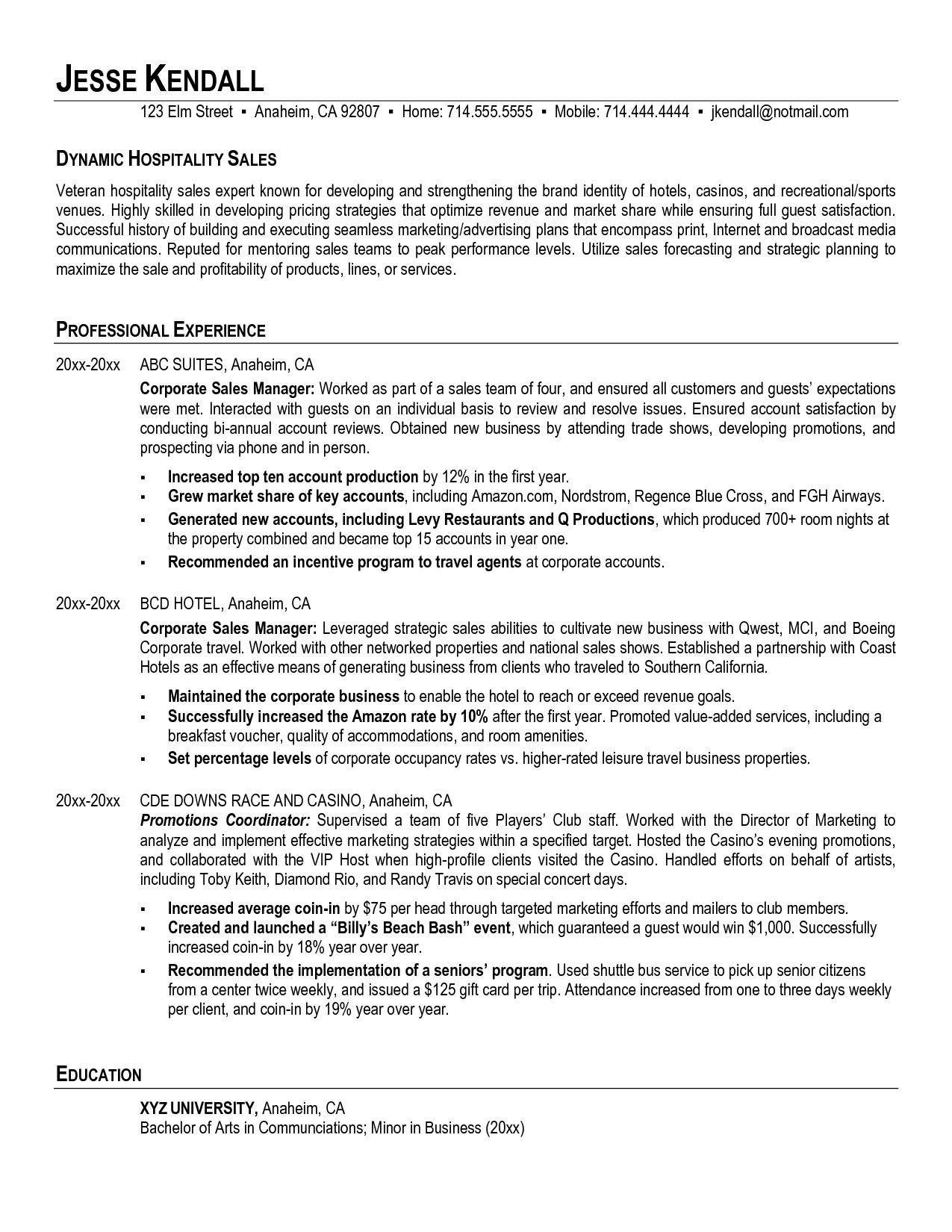 Hotel Resume Sample hotel casino resort executive resume – Sample Resume Hospitality
