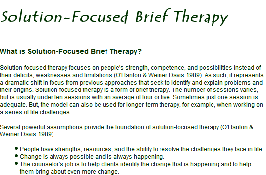 """solution brief focused therapy analysis Solution focused mediation asks sight of solutions """"an analysis turns a focal point into a beperkte cliënten [solution focused brief therapy with."""