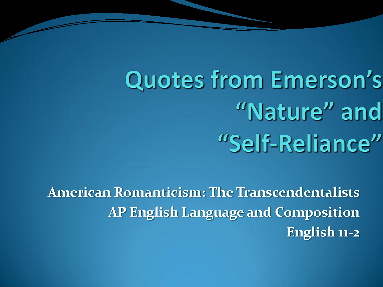 emersons essay self-reliance