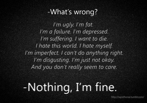 Quotes About Hating Life Tumblr Im Ugly Depression Quo...