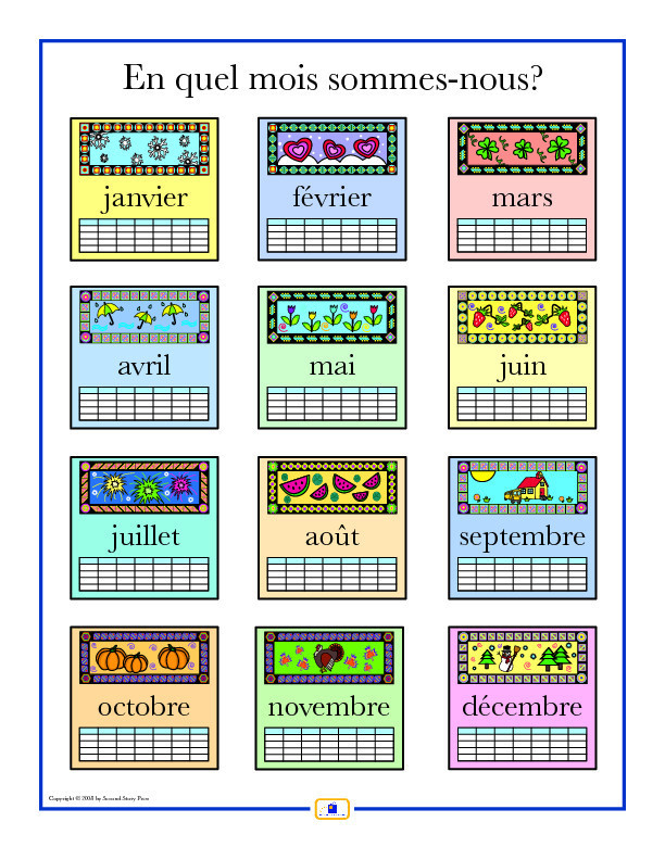 French Months of the Year Worksheet Months Of The Year In French