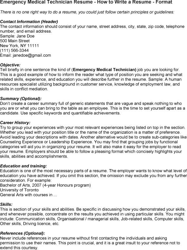 emergency medical technician resumes