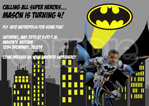 Batman Superhero Birthday Invitation Printable Photo Super Hero Party DIY Batman