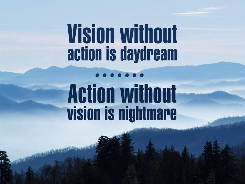 Vision Without Action is a Daydream, Action Without Vision is a Nightmare