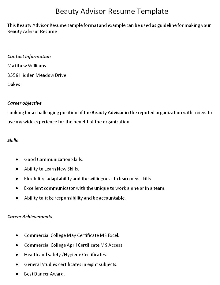 Resume For Beauty Consultant. cover letter cover letter for beauty ...
