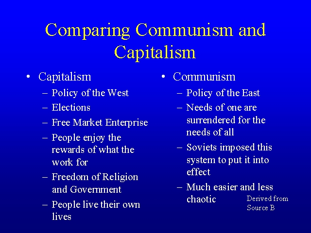 essay capitalism vs communism A comparison between socialism and capitalism economics essay disclaimer: this essay has been submitted by a student then capitalism and finally communism.