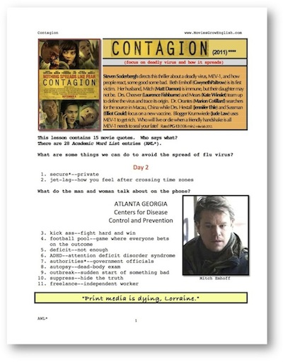 Analysis of the movie contagion worksheet answers