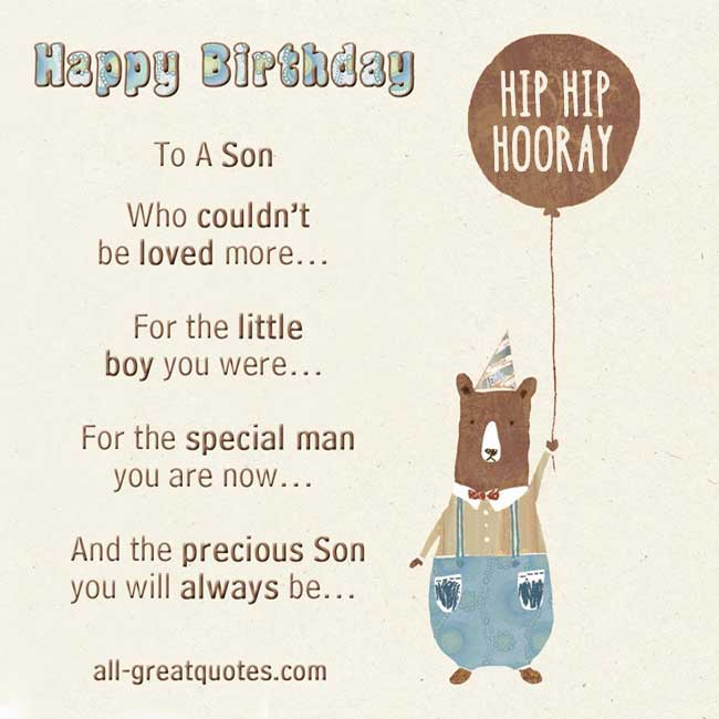 Birthday Card For Son Quotes. QuotesGram
