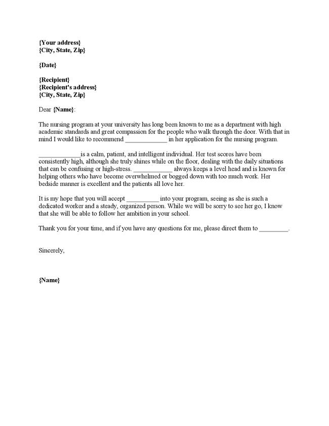 Nursing Student Recommendation Letter Example Cover Letter Examples – Student Recommendation Letter