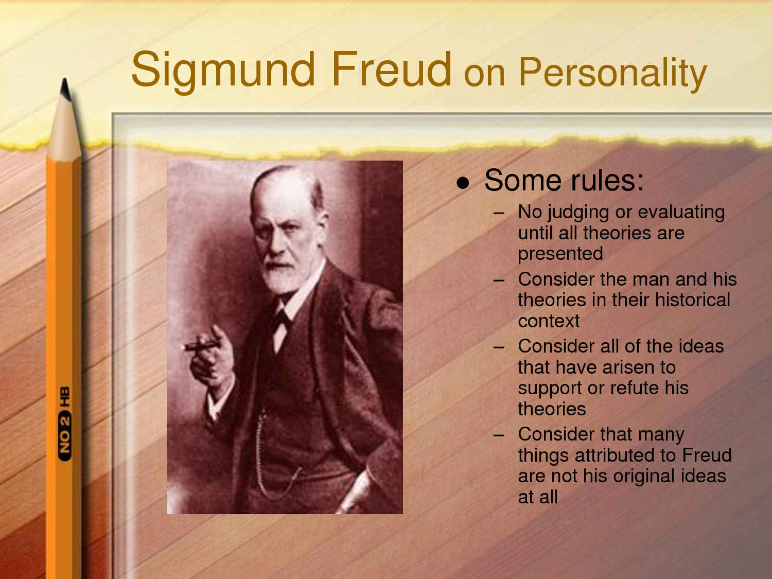 the personality theories of sigmund freud Freud's theory of personality antoinette e nowak holy family university freud's theory of personality sigmund freud's theory of personality is both relevant and non-relevant in today's society.