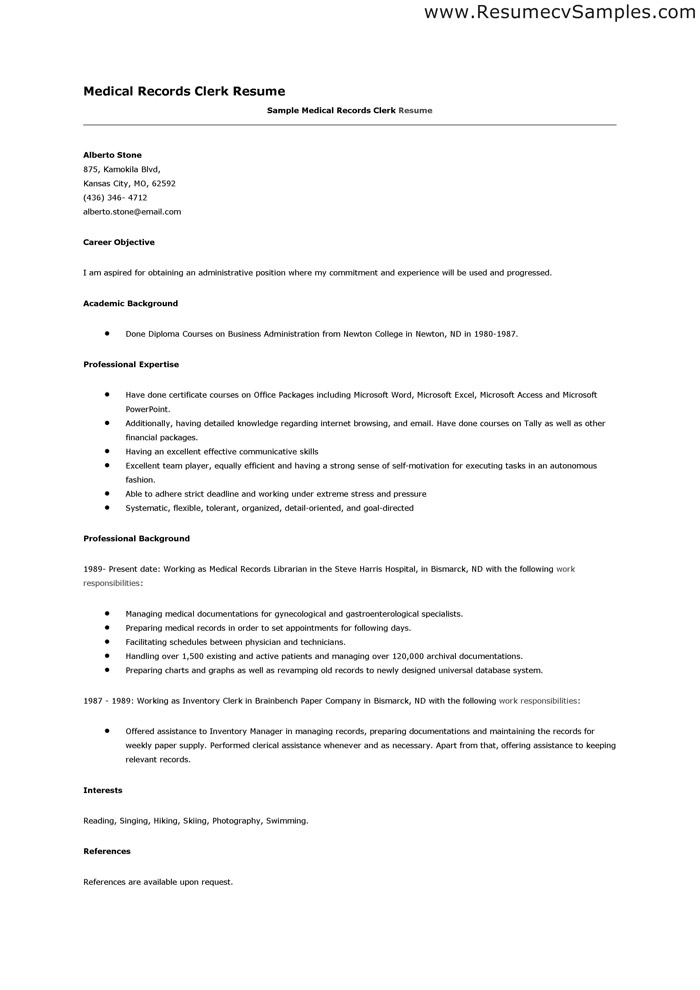medical clerk resume samples