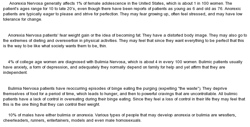anorexia outline essay People with eating disorders take concerns about food and weight to extremes learn more about treatment for eating disorders such as anorexia, bulimia and binging.
