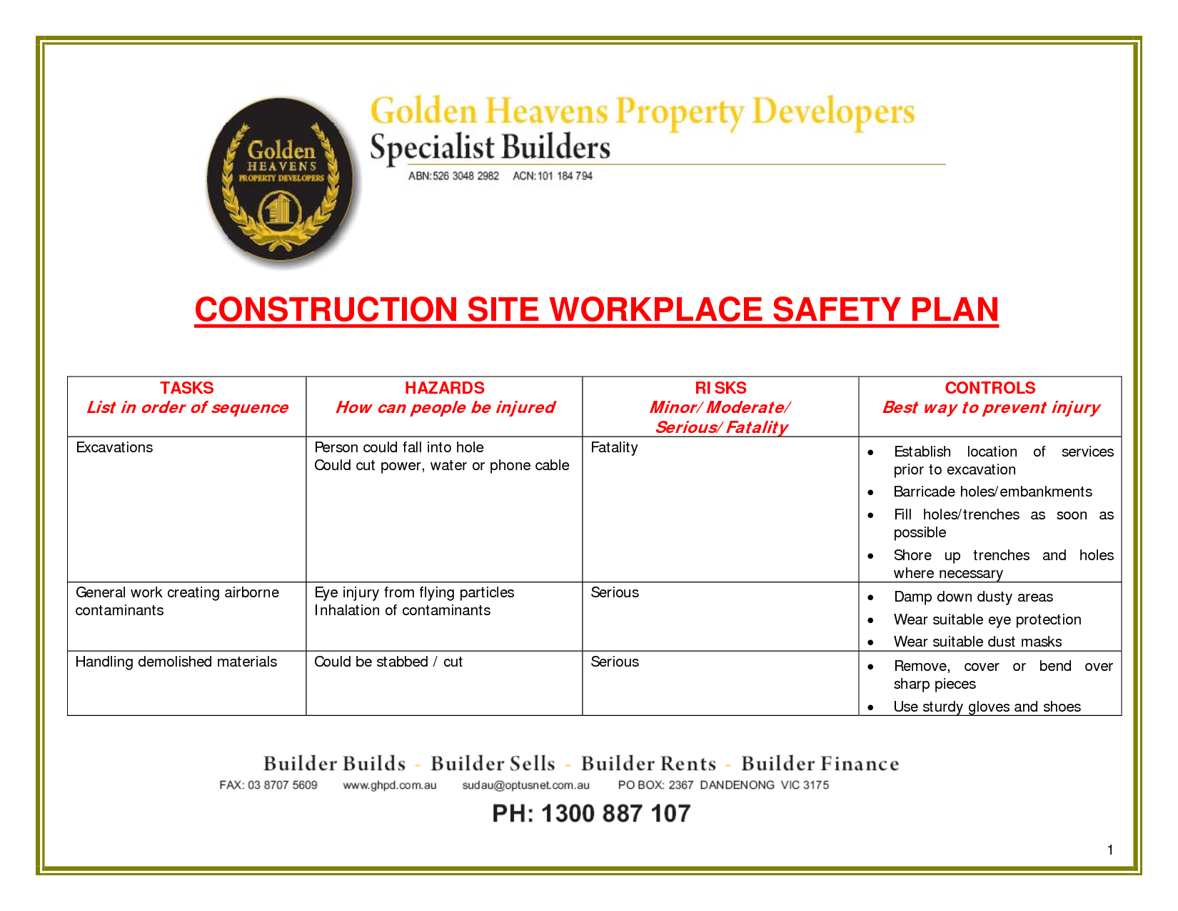 Construction safety quotes quotesgram for Contractor safety plan template