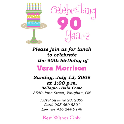 Birthday Quotes For Invitations: 90th Birthday Quotes. QuotesGram