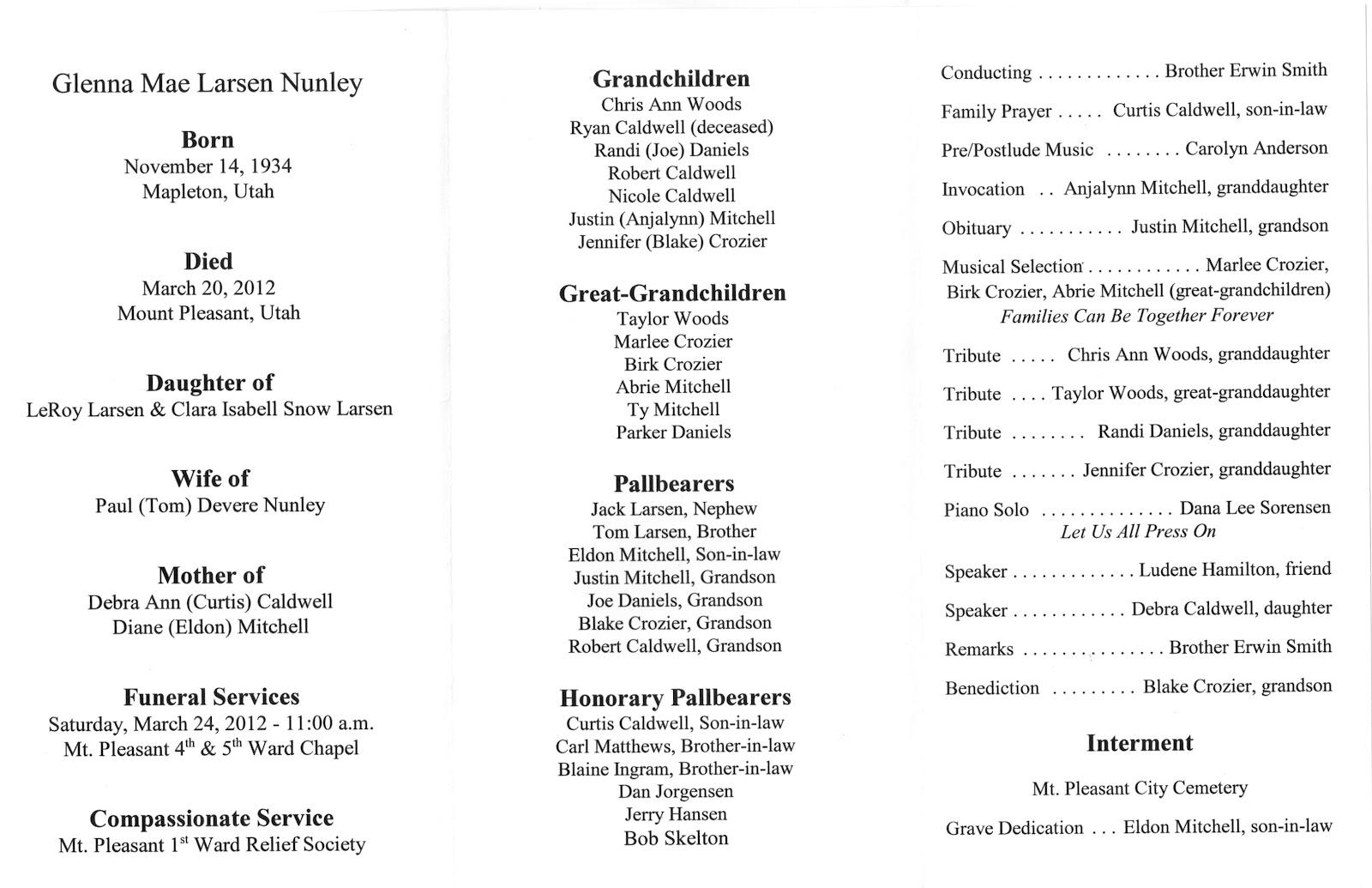 Funeral Programs Samples Desert Single Fold Memorial Program. 4+ ...