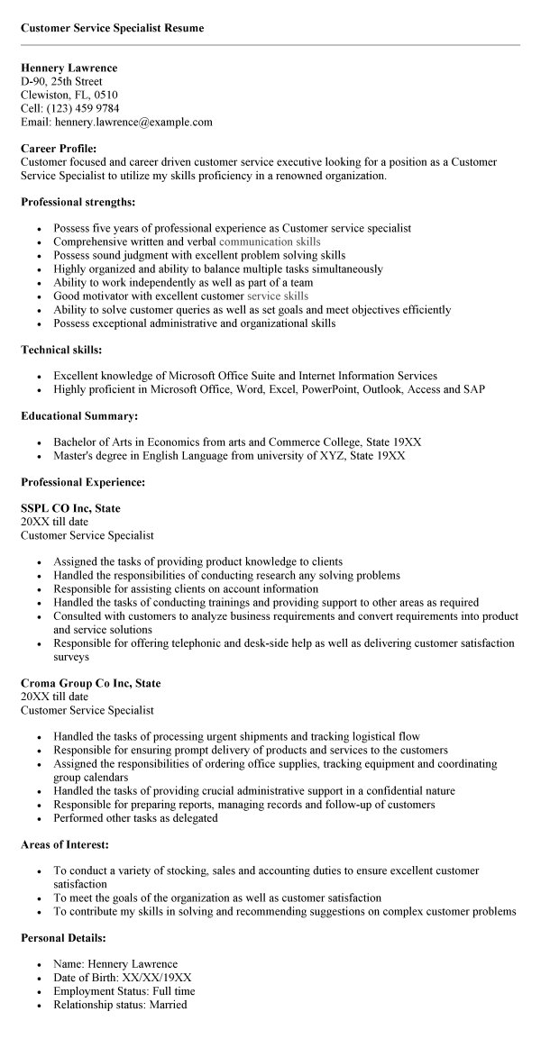 resume focused on customer service