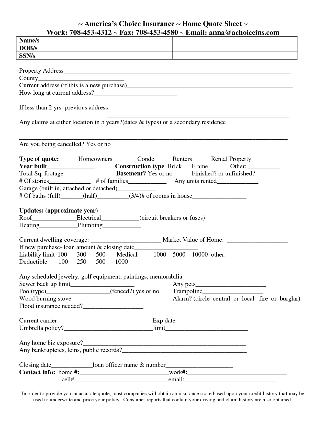 Auto Insurance Quote Forms - 44billionlater