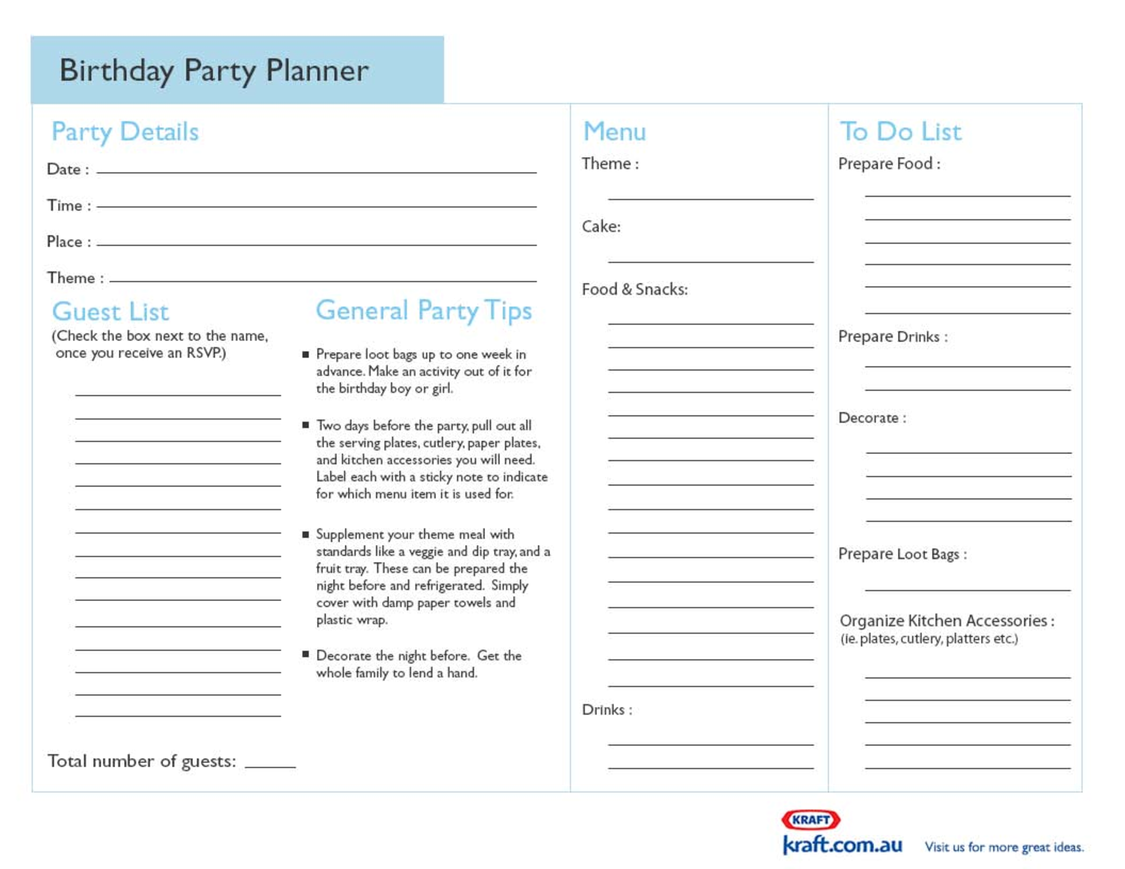 Beautiful Birthday Planner Template Pictures - Office Resume ...