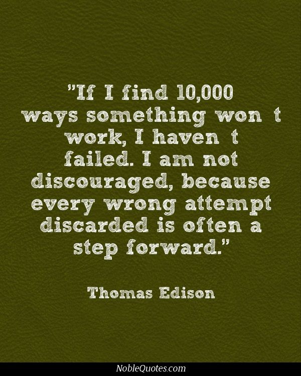 Inspirational Quotes About Failure: Thomas Edison Quotes Failure. QuotesGram