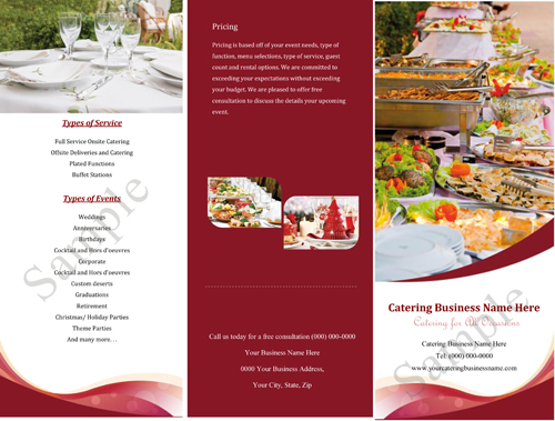 Catering quotes samples informal quotesgram for Catering brochure templates