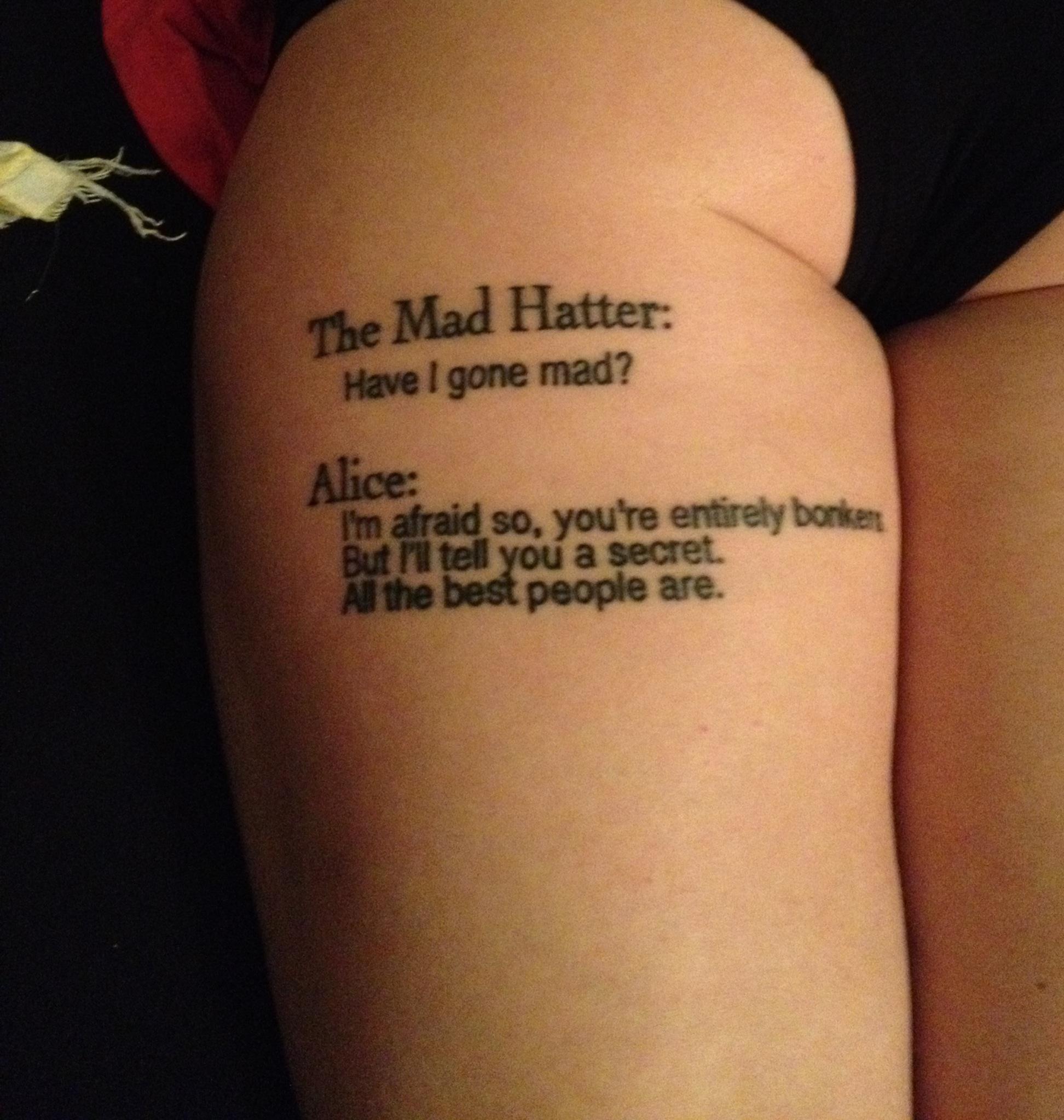 Alice In Wonderland Quote Tattoos: Tattoo Quotes About Drugs. QuotesGram