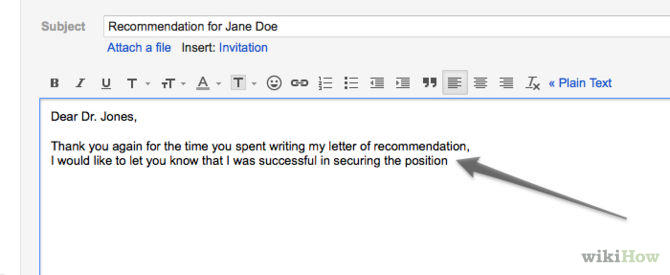 Email Remind Professor About Recommendation Letter