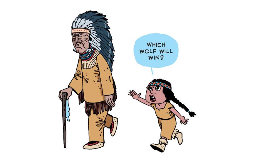 притча о волках в картинках индеец которая