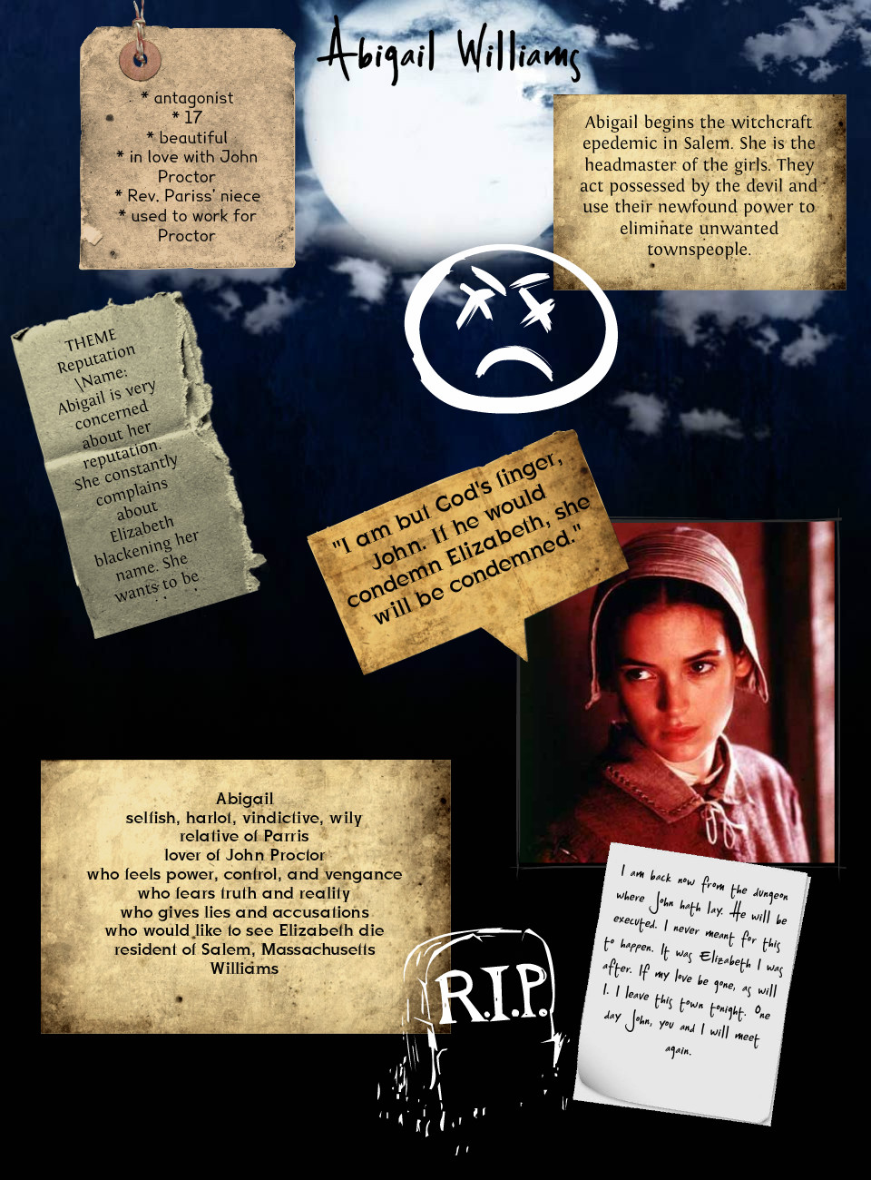 the crucible of abigail williams Read this free literature essay and other term papers, research papers and book reports antagonist of the crucible: abigail williams seth mahoney mrs redmerski english 2 12/1/15 antagonist of the crucible: abigail williams in arthur miller's the crucible.