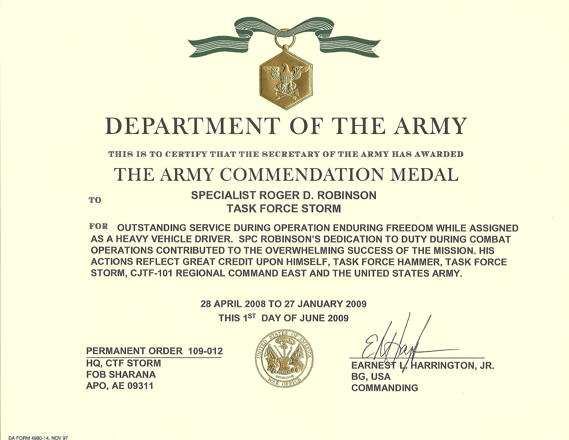Military award quotes quotesgram for Certificate of commendation usmc template