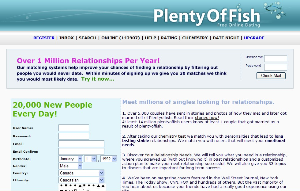 plentyoffish dating site free