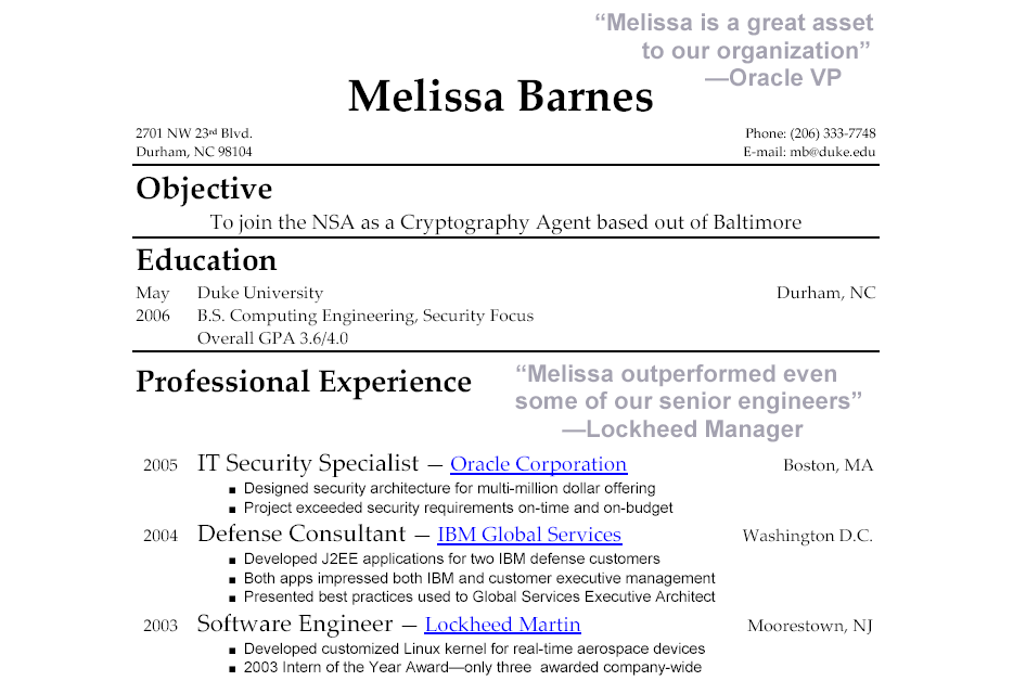Resumes Examples With Quotes Quotesgram