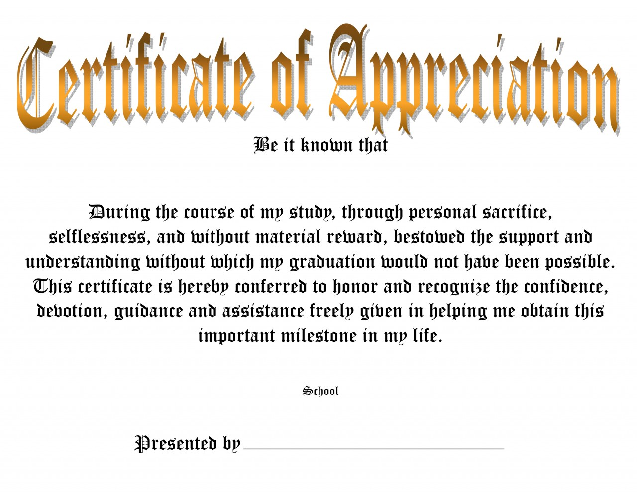 Certificate Of Appreciation Words template annual report – Certificate of Appreciation Sample Wording