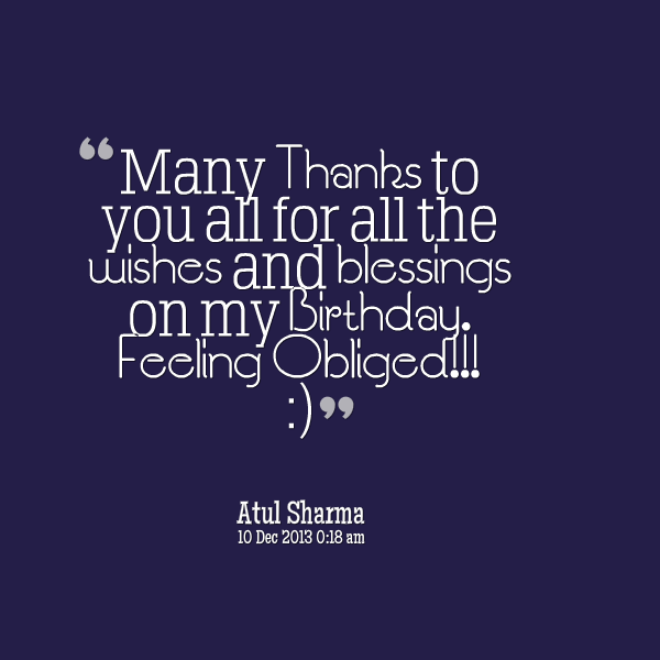 Thanks For Happy Birthday Wishes Quotes: Birthday Quotes My Blessing. QuotesGram