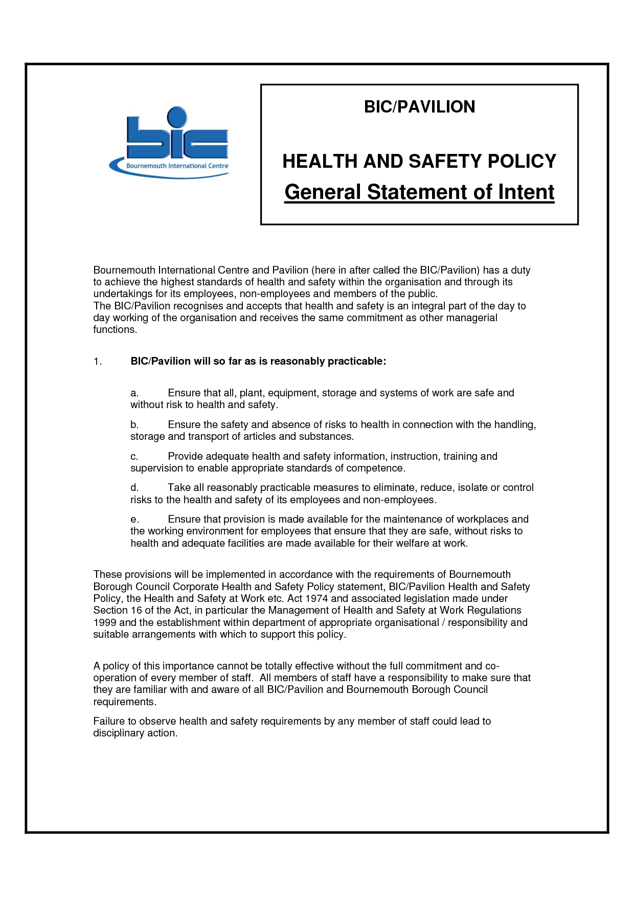 Hse Health And Safety Policy Template Personal Safety Commitment Quotes QuotesGram