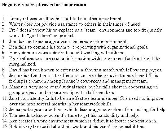 160257990-negative-review-phrases-cooperation Teamwork Performance Review Examples on integrity performance review example, good employee review example, car salesmen performance review example, teamwork phrases for performance,