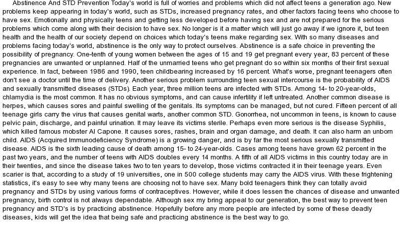 essays on preventing stds Free essays from bartleby | negative effects on both parties involved, such as sexually transmitted diseases (stds), unexpected pregnancies, and.