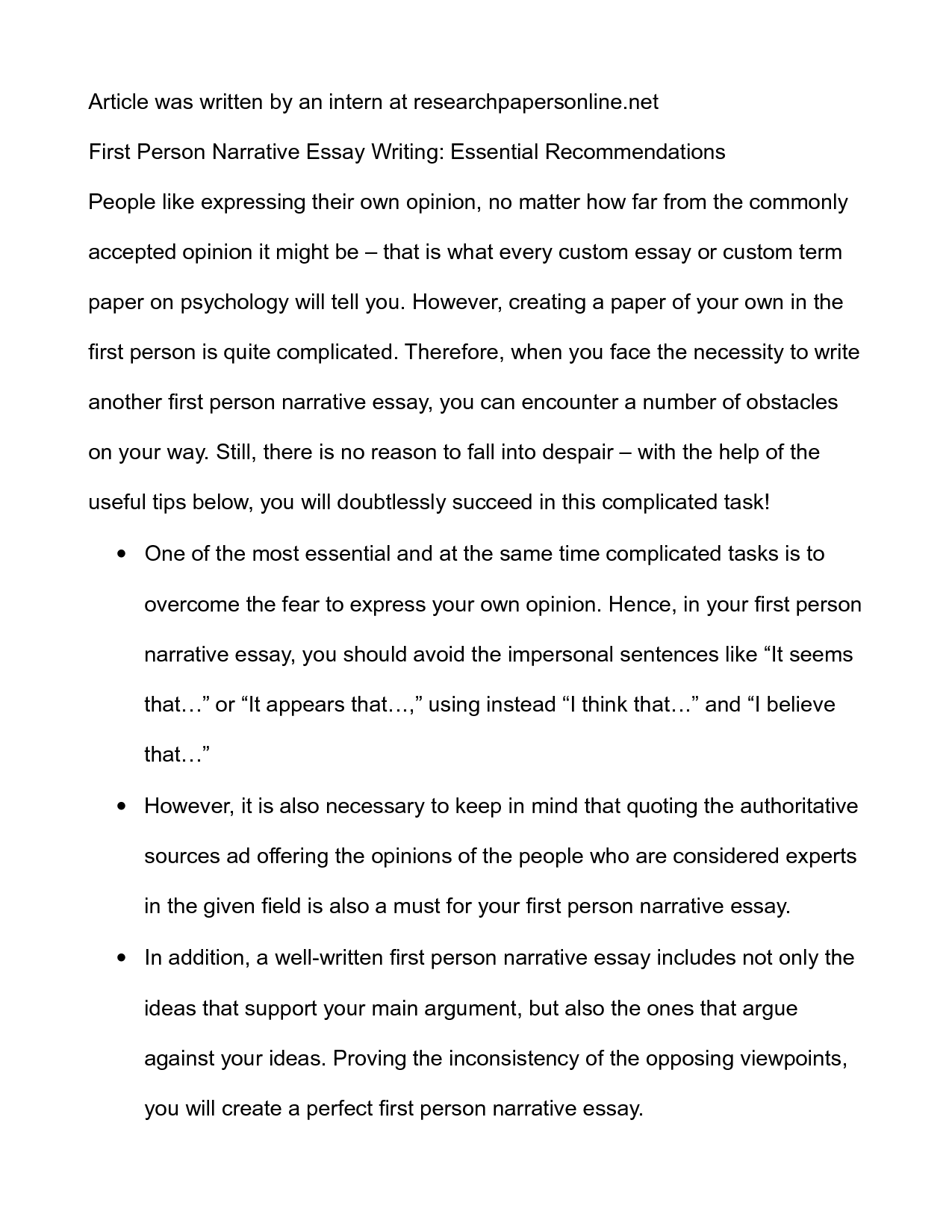 first person narrative example essays template first person narrative example essays