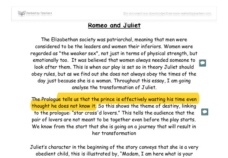 What is a quote from Romeo and Juliet describing Juliet's loyalty to Romeo?
