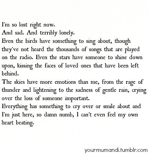 Sad Quotes About Depression: Im Numb Quotes. QuotesGram