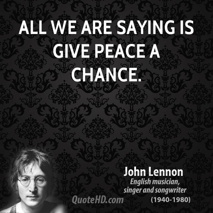 give peace a chance Give peace a chance by toots & the maytals sampled plastic ono band's give  peace a chance listen to both songs on whosampled, the ultimate.