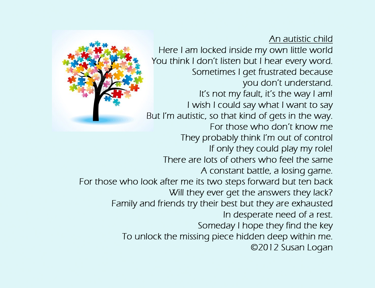 Autism Poems And Quotes. QuotesGram