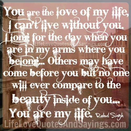You Are The Love Of My Life Quotes. QuotesGram