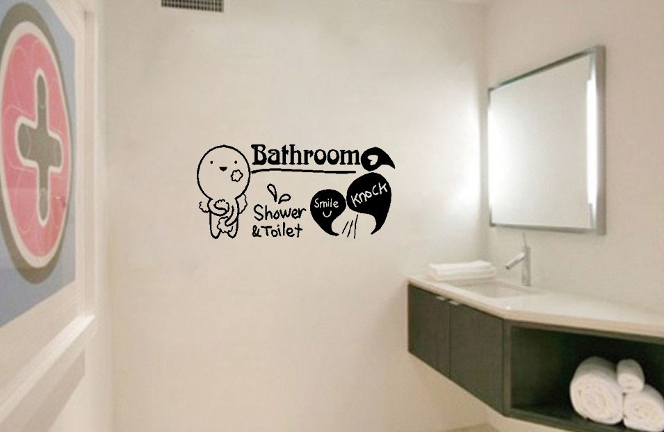 Shower bathroom wall decals quotes quotesgram for Bathroom decor quotes