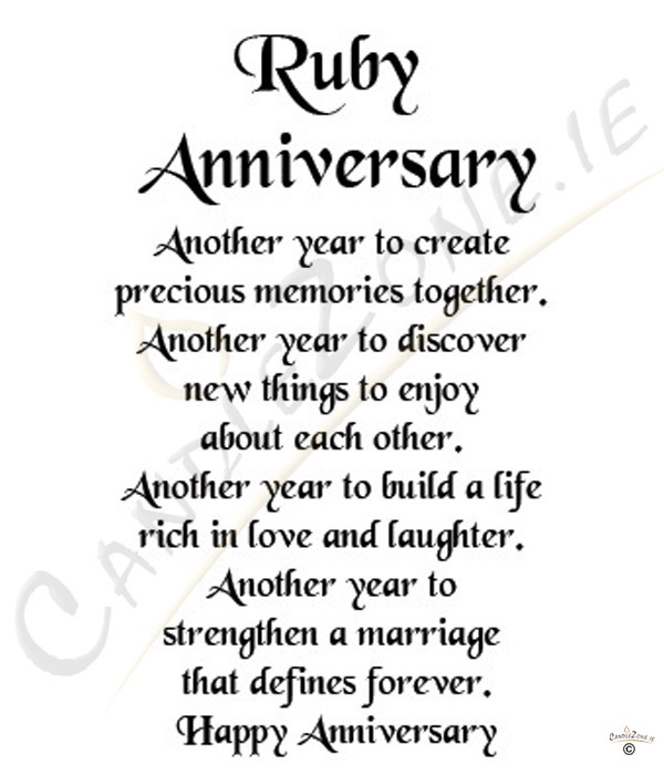 Wedding Anniversary Poems: 40th Anniversary Poems Quotes. QuotesGram