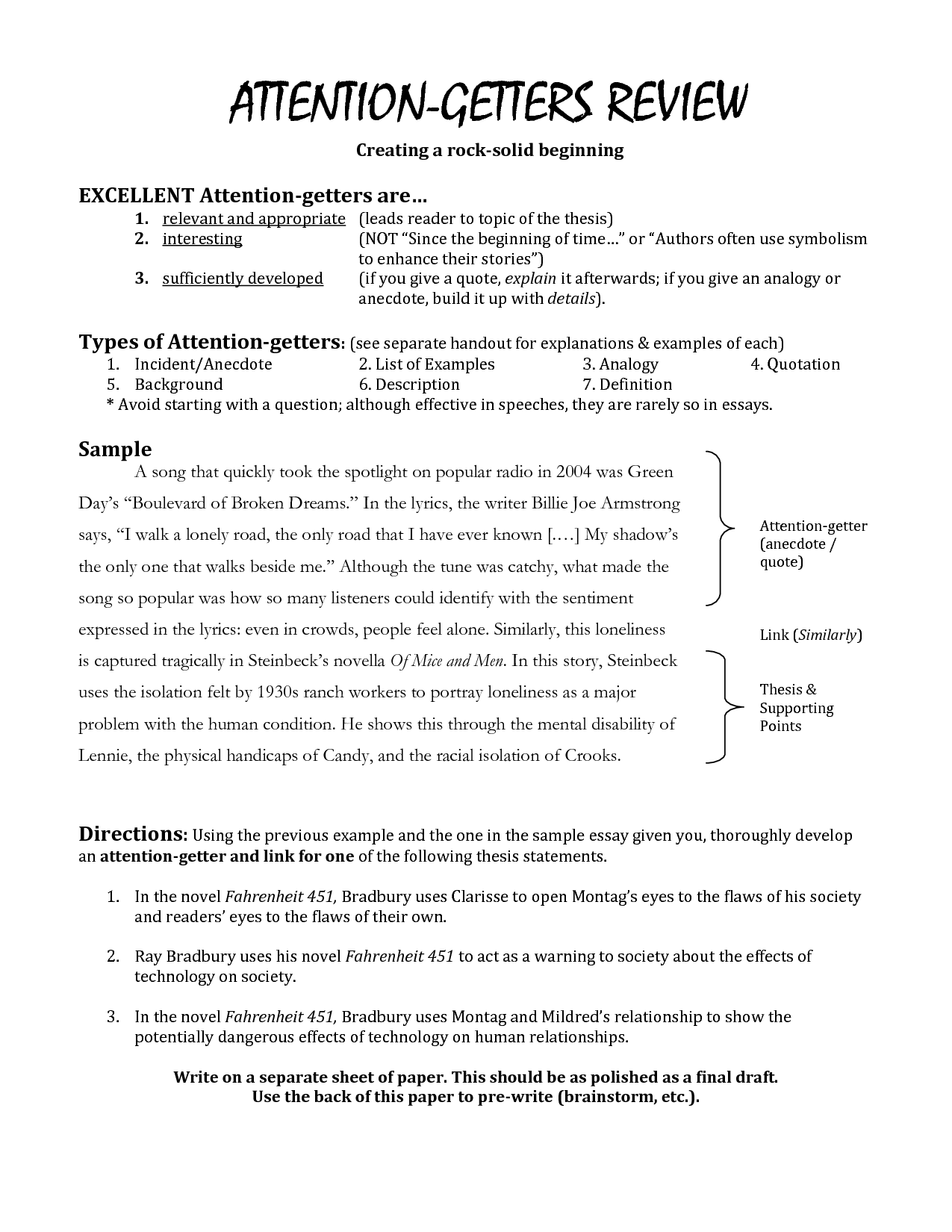 good attention getter for essay Having a good attention getter for an essay is absolutely crucial on average,  i need a good attention getter for a speech on a genocide.