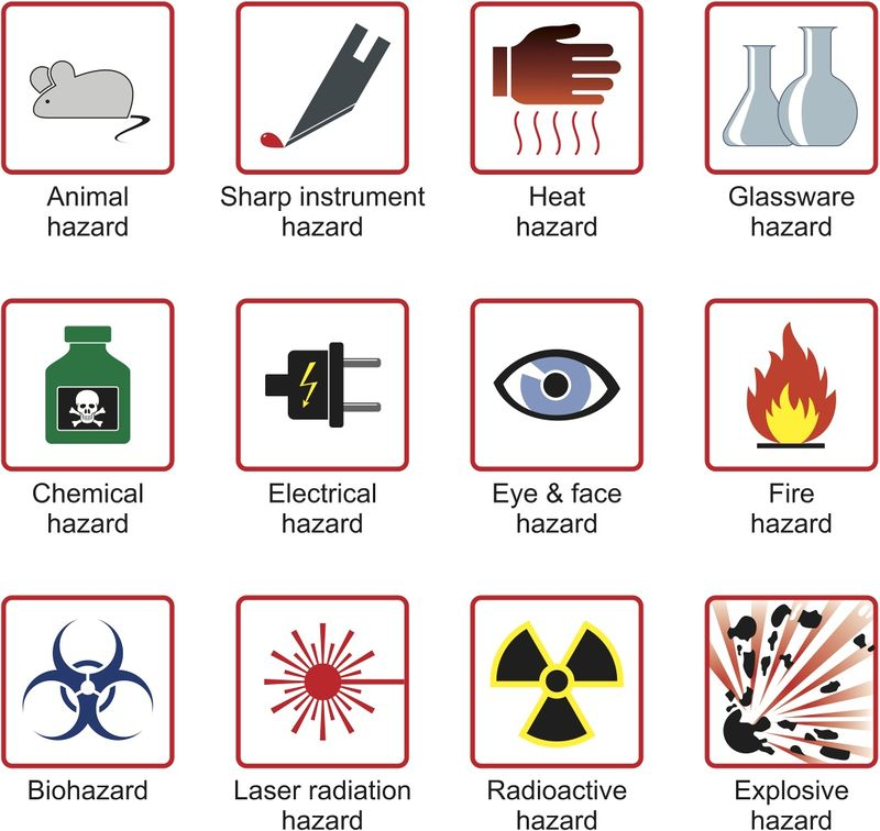 symbols science safety lab laboratory clipart signs warning quotesgram quotes labs vector hazard symbol fotosearch meanings clip rules labels equipment