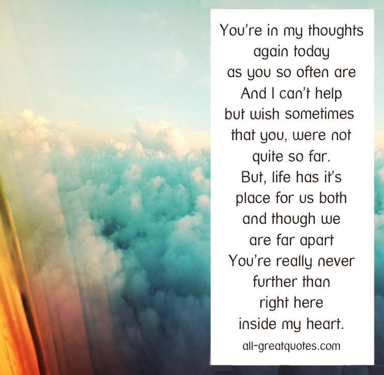 Inspirational Quotes On Pinterest: Youre In My Thoughts Quotes. QuotesGram