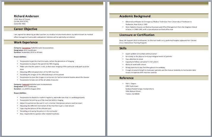 Free sample resume mri coordinator