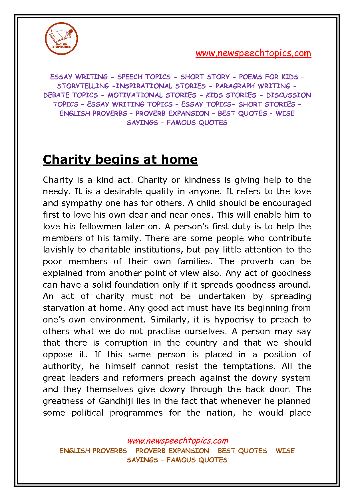 essay on charity essay about charity gxart essay about charity kindness starts at home quotes quotesgramkindness starts at home quotes