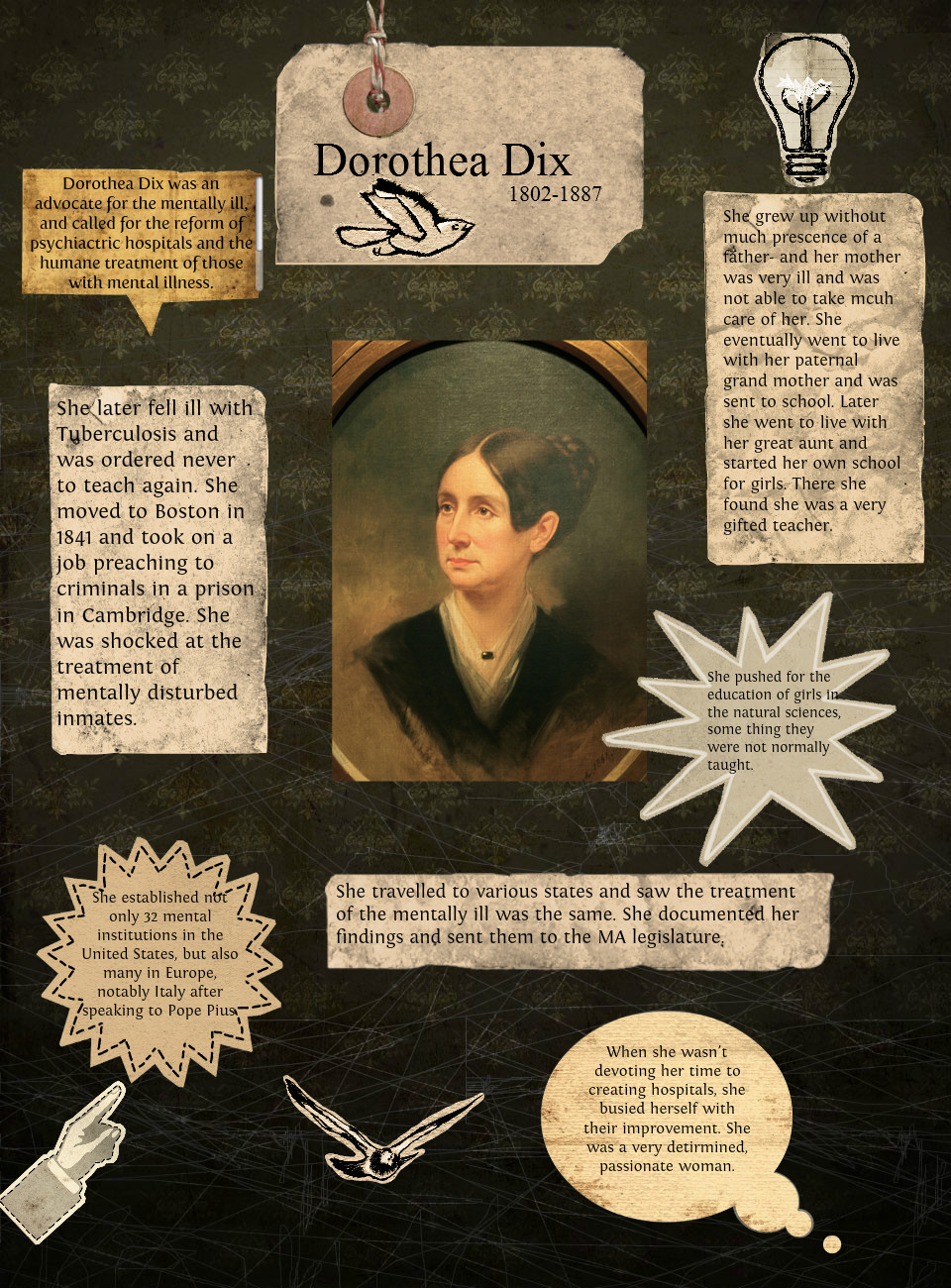 dorothea dix the one who pursued her Dorothea dix  by david l smiley reprinted with permission from the tar heel junior historian, fall 1996 tar heel junior historian association, nc museum of history dorothea lynde dix is one example of a woman who made up her mind to do something and fought all odds to do it.